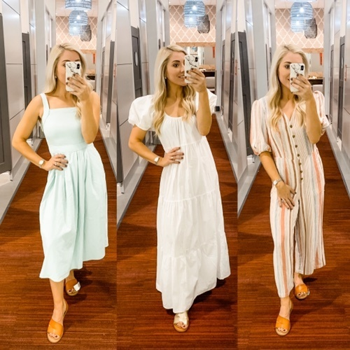 in mint Universal Thread dress (TTS), XS in white Wild Fable dress (fit roomy), XS in striped Universal Thread jumpsuit (TTS)