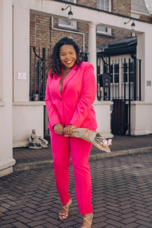 Pink Suit Perfection #plussize #suiting #tailoring #suit #pink #shopthelook #SpringStyle #WeddingGuestLooks