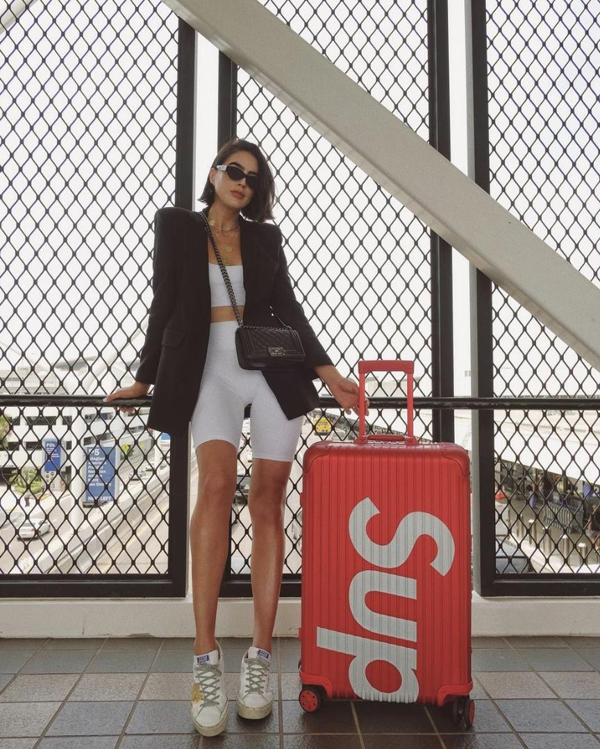 Headed on my next trip #TravelOutfit #WeekendLook #BirthdayParty #SummerStyle #ShopStyle #shopthelook #MyShopStyle #DateNight #OOTD #SpringStyle #airport #travel #bikershorts #croptop #blazer #goldengoosedeluxe