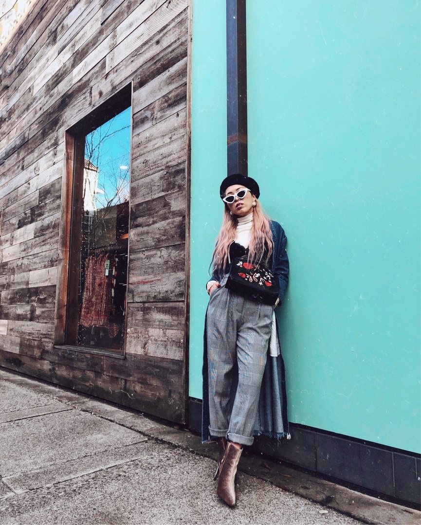 ts #houndstooth #print #petite #japanese #streetstyle #denim #denimtrench #trenchcoat #chanel #earrings #embroidered #seattle
