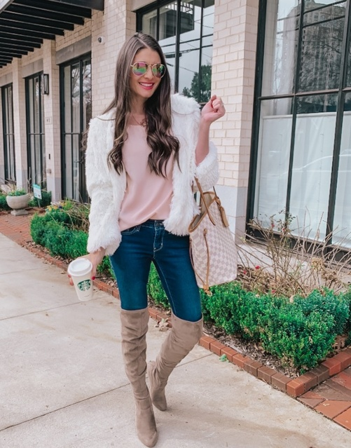 - otk boots with jeans and a blush pink top and white faux fur jacket! Pair it with rainbow sunnies for a fun pop of colors!