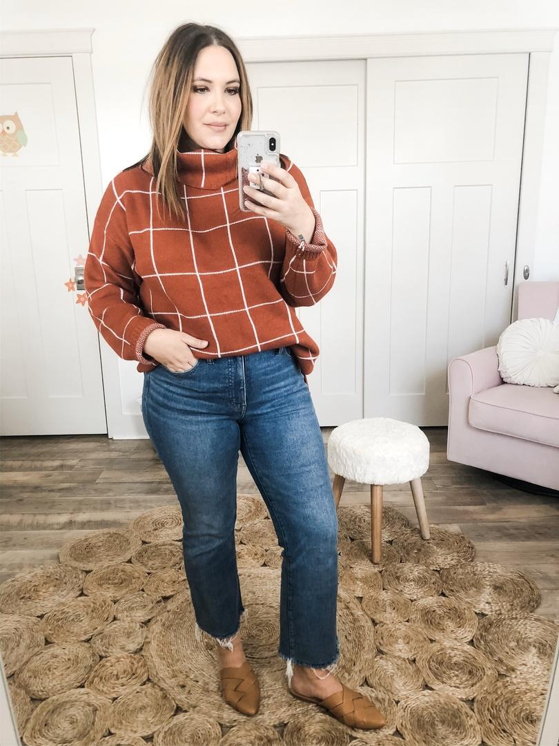 Look by Rebecca Wattenschaidt featuring HAOAN Women Casual Pullover Sweater Plaid Turtleneck Side Split Loose Knit Jumper Tops