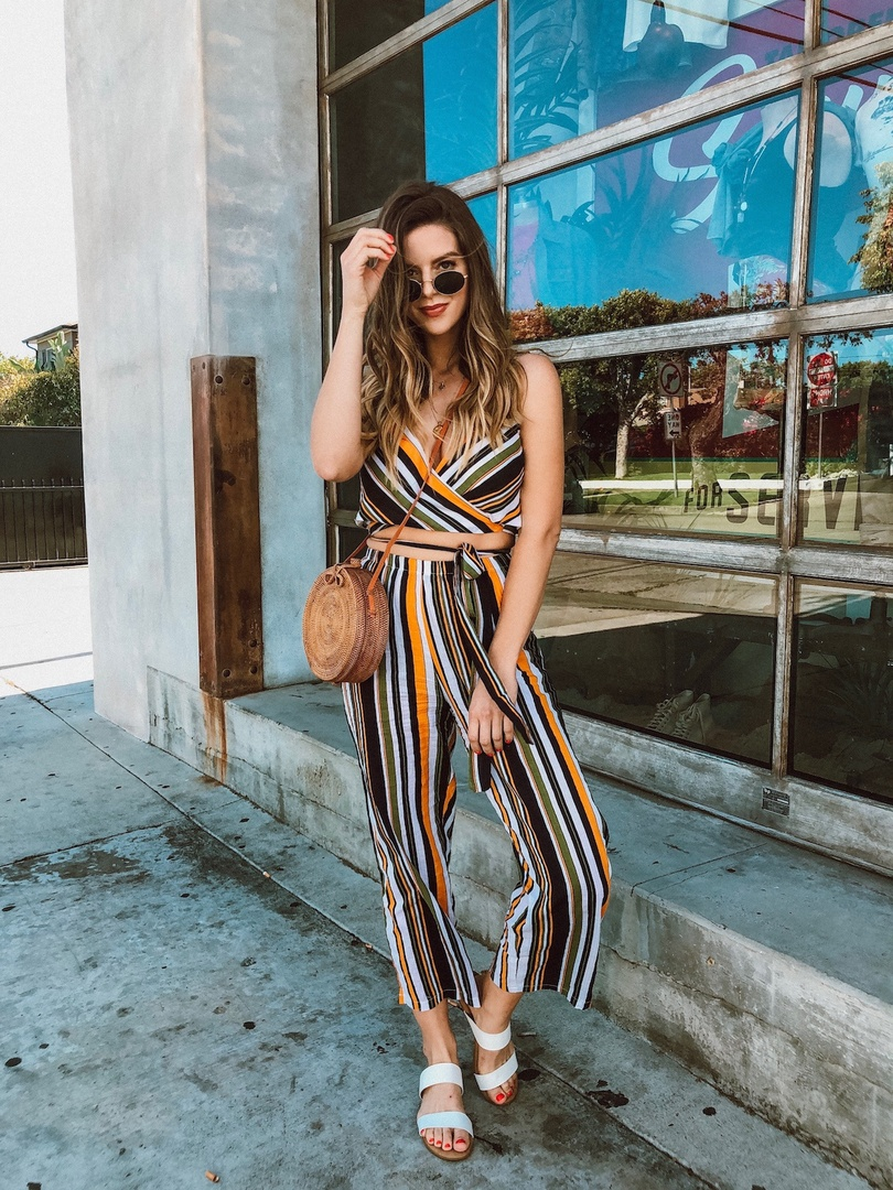 Look by Michelle Madsen featuring Tie Waist Striped Culotte Pants