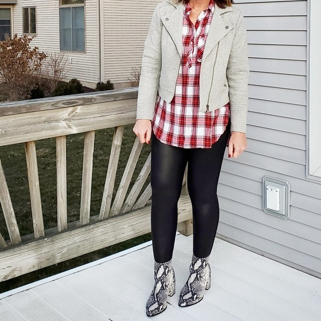 t moto jacket, plaid flannel shirt, and snakeskin boots #ShopStyle #MyShopStyle #snakeskin #flannel #moto #spanx #fauxleather