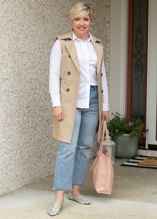 Look by Savvy Southern Chic featuring Sleeveless Belted Trench Jacket