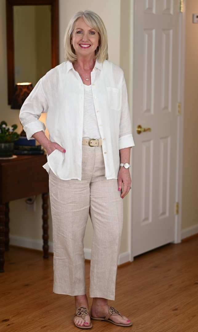 Look by Dressed For My Day featuring The Linen Relaxed Shirt