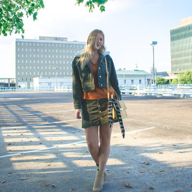 irlsNightOut #TravelOutfit #OOTD #fallbloggerstyle #styleinspo #corduroy #jacket #furtrimmed #fauxfur #miniskirt #buttonfront