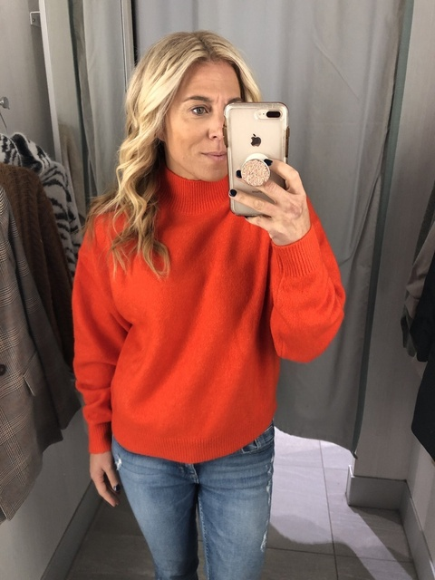 not go bright and bold this fall and winter!? I never buy anything fire engine red, but now I am! Loving this fun sweater! 🥰