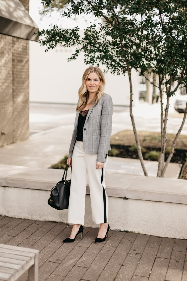 dd to the black and white look! #MyShopStyle #ShopStyle #LooksChallenge #spring #professionaloutfit #whiteworkpants #workwear