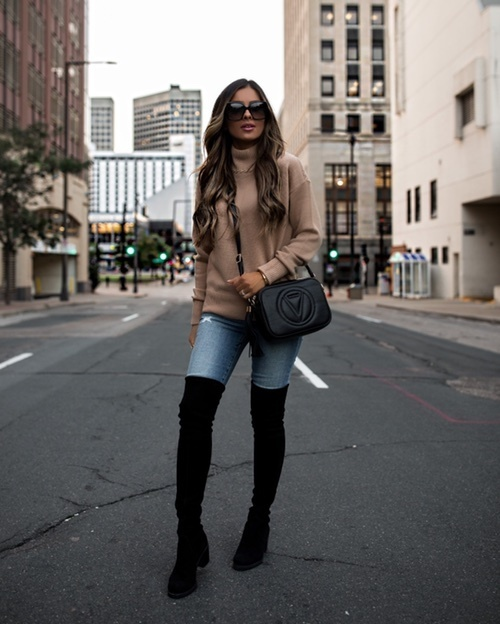 Fall outfit from Saks OFF 5TH - camel cashmere sweater