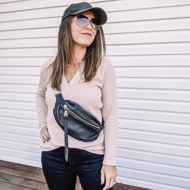 Cute casual look with leather bum bag from Sals Off 5th