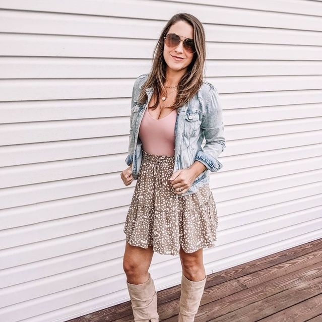 Fall date night casual dressy skirt look with bodysuit and jean jacket and high boots. #ShopStyle #MyShopStyle