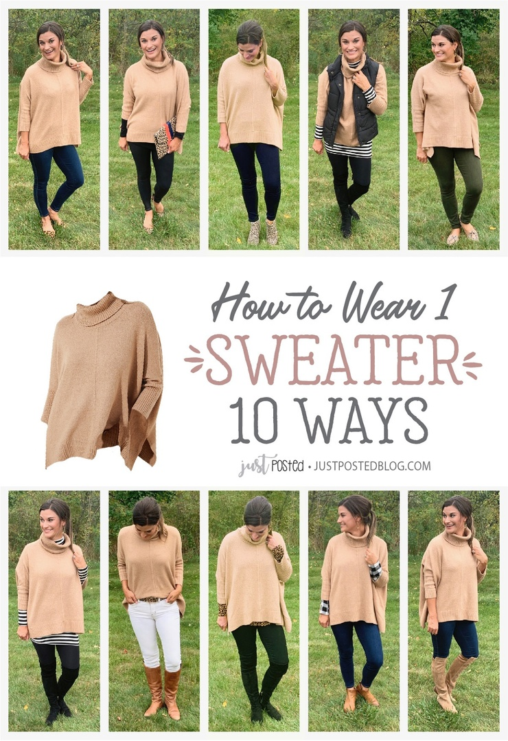Look by Just Posted featuring Turtleneck Poncho Sweater