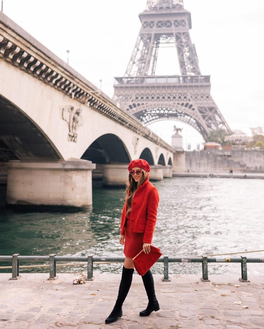 g Sezane, Club Monaco and Stuart Weitzman #ootd #MyShopStyle #GMGTravels #fallfashion #Paris #OTKboots #ladyinred #getthelook