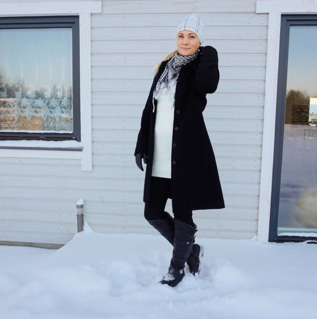 Classic black and white winter outfit. #Winter #winteroutfit #styleover30 #ShopStyle