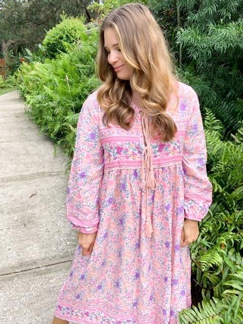 Boho cottagecore midi dress. TTS wearing a large