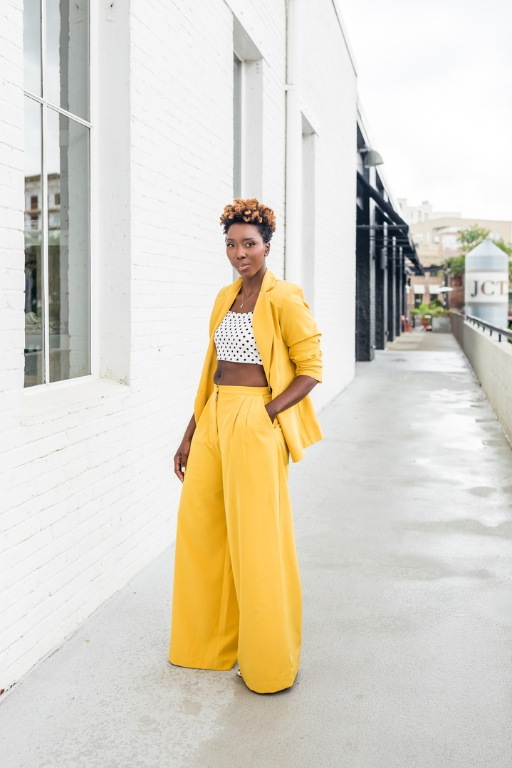 Killing it in this yellow pant suit  #shopthelook #ShopStyle #SpringStyle #MyShopStyle #SummerStyle #WearToWork #NYFW #OOTD