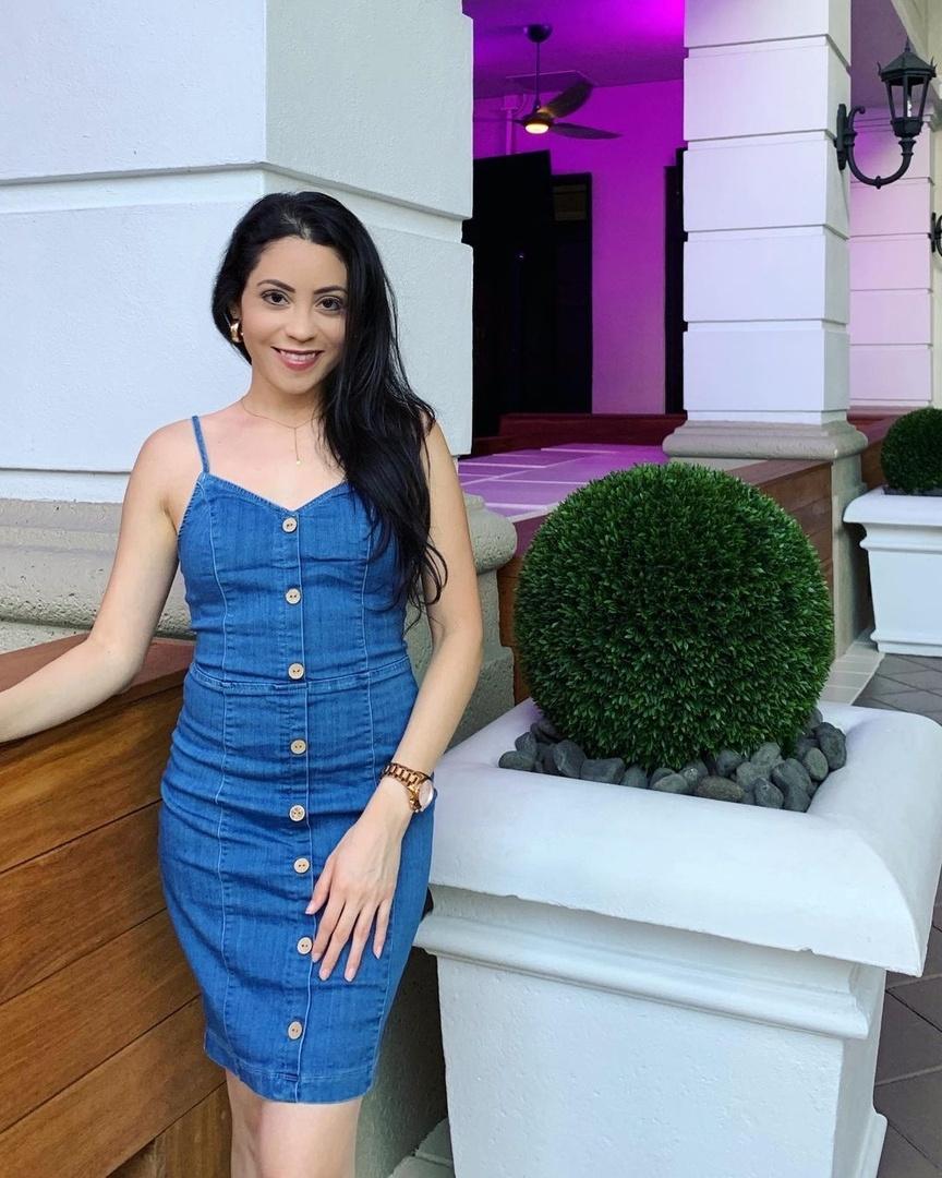 Look by LynSire featuring Petite Blue Button Detail Stretch Denim Mini Dress