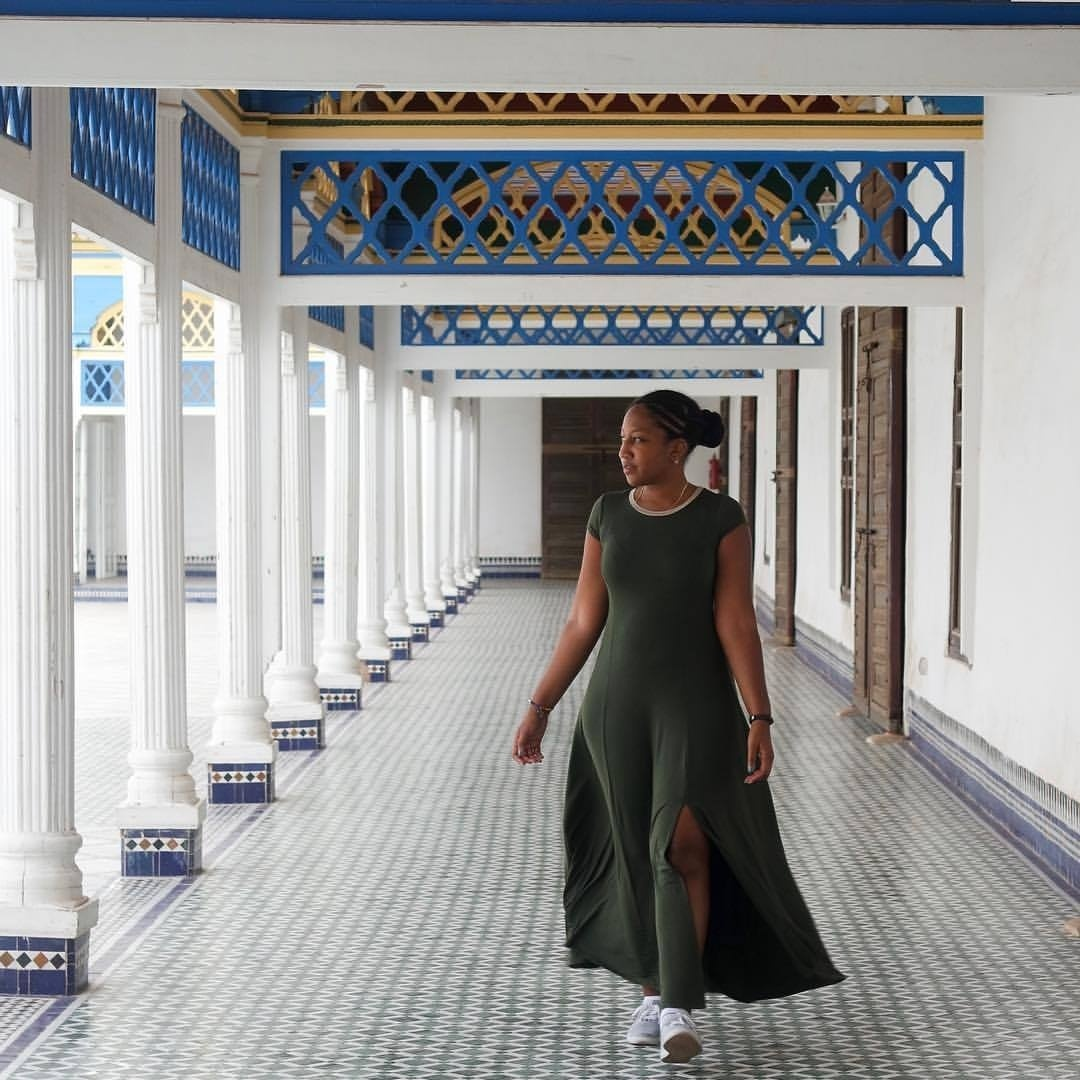 "Took a trip to Bahia Palace today. The name means ""brilliance"". As in other buildings of the period in other countries, it was intended to capture the essence of the Islamic and Moroccan style.  #rockoutinmorocco #joannaetravels #morocco #maroc #marrakech #caribbeangirlswhoblog #joannaestyle #essencetravels #travelstyle"