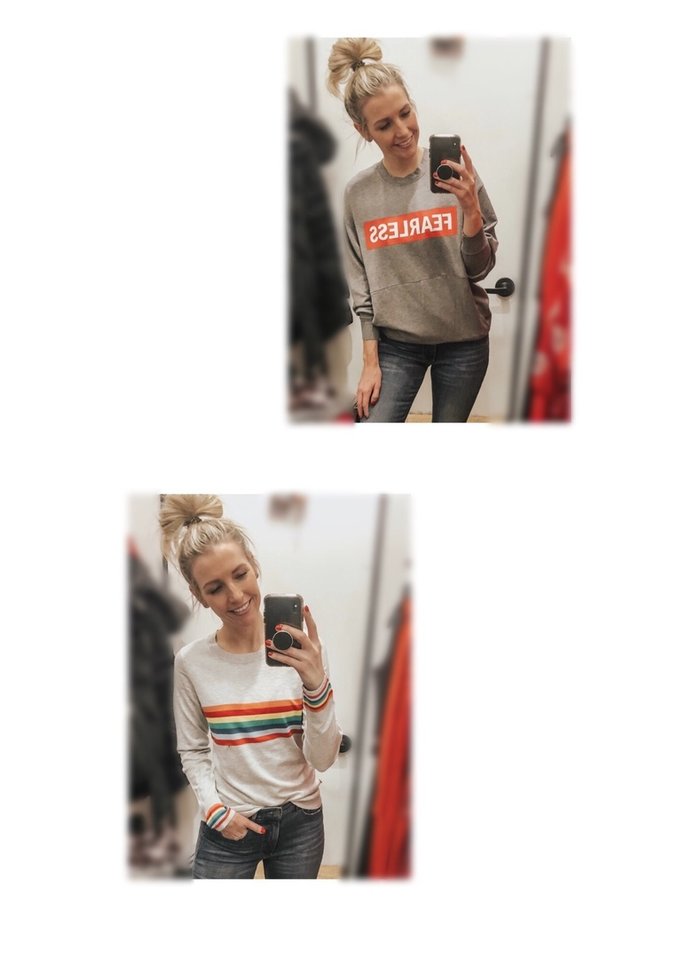 Look by Marla Gustafson featuring Express One Eleven Rainbow Striped Long Sleeve Boxy Tee