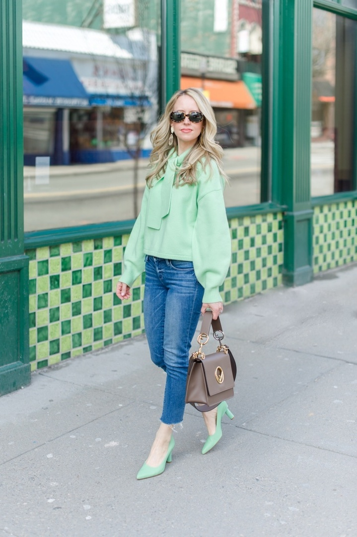 Mint green is a fresh take on the pastel trend of the season. Pair it with jeans for a more casual vibe. Or go all out for Spring and pair it with another pastel. Make mint green your Spring neutral.  #ShopStyle #MyShopStyle #LooksChallenge #ContributingEditor #TrendToWatch #Petite #mint #spring #style #outfit #pastel #trend #tibi #fendi