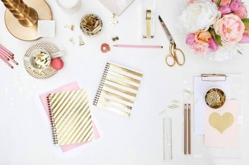 gold blush desk love