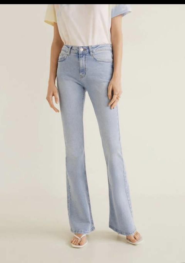Look by Jennifer sattler featuring MANGO - Flared jeans Flare sand - 1 - Women