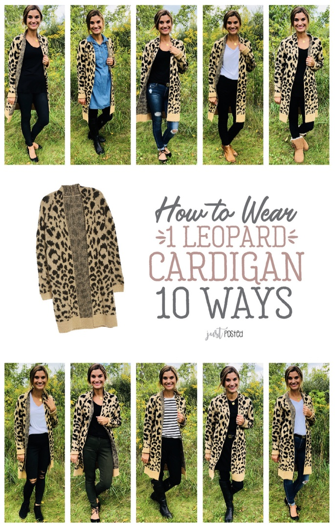 Look by Just Posted featuring BP. Long Leopard Jacquard Cardigan