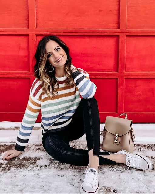 Stripped Sweater! SO cute and the best fit. Get it now while it's fully stocked! #ShopStyle #MyShopStyle #wiw #winterfashion