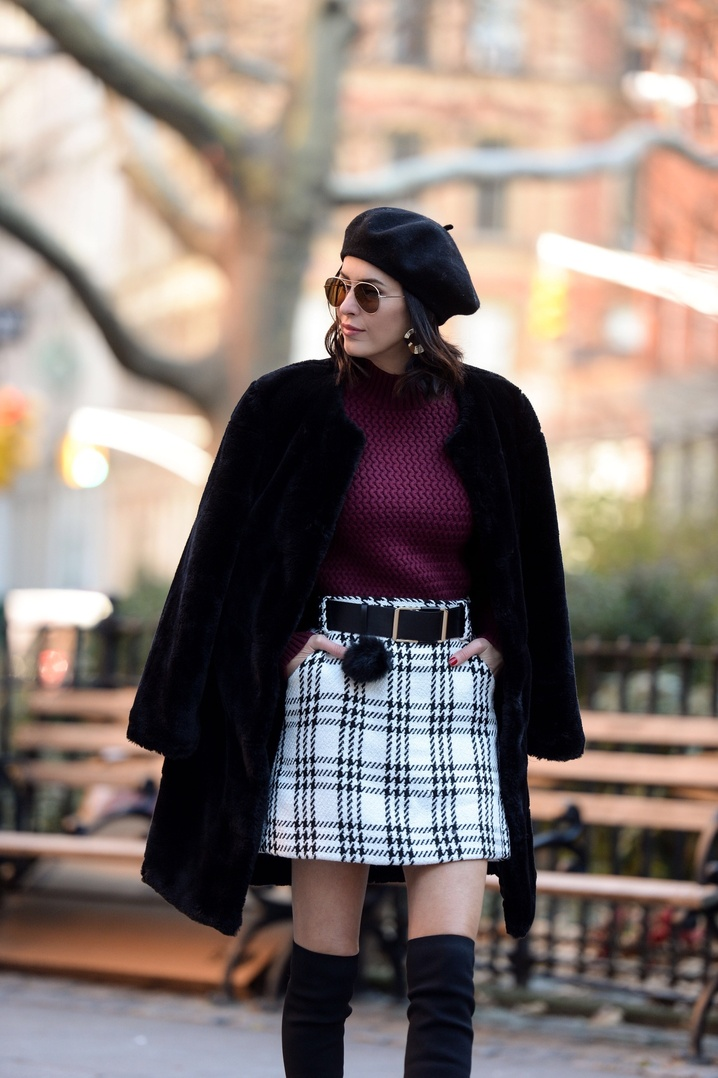 Winter style can include a mini-skirt when a warm faux fur coat and OTK boots are included.    #winterlayering #check #plaid #miniskirt #winterfashion #winterlayering #fauxfur #pom #beret #streetstyle #ShopStyle #ssCollective #MyShopStyle #ootd #mylook #currentlywearing #lookoftheday #wearitloveit #getthelook #todaysdetails #shopthelook