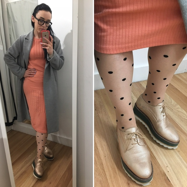 tights by Omero, gold flatforms from Dune and grey coat from H&M. #ShopStyle #MyShopStyle #ootd #mystyle #mylook #ss19 #peach