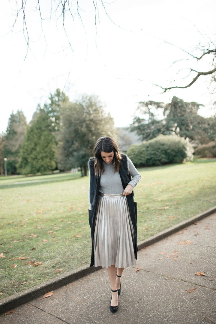 Metallic pleats for a festive flare. #shopstyle #sscollective #myshopstyle #holidaydressing #gold #metallic #pleats #ootd #mylook #shopthelook