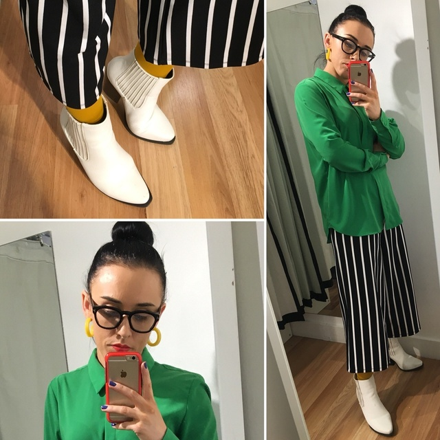onochrome pants and boots with splashes of green and yellow #ShopStyle #MyShopStyle #ootd #mystyle #mylook #smartcasual #ss19