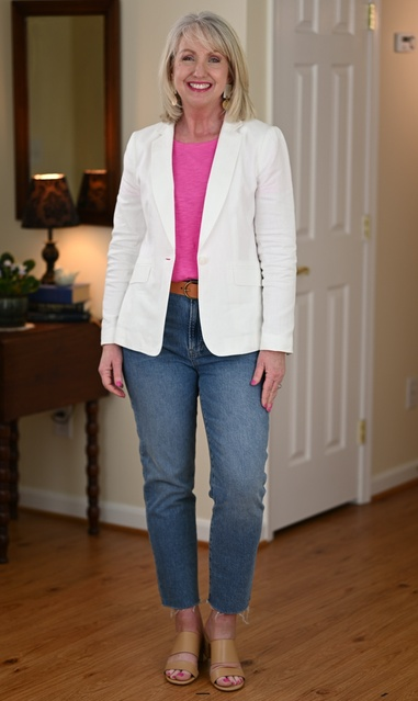 le jeans and tee outfit with a blazer and heels. #dressedformyday #ShopStyle #MyShopStyle #LooksChallenge #ContributingEditor