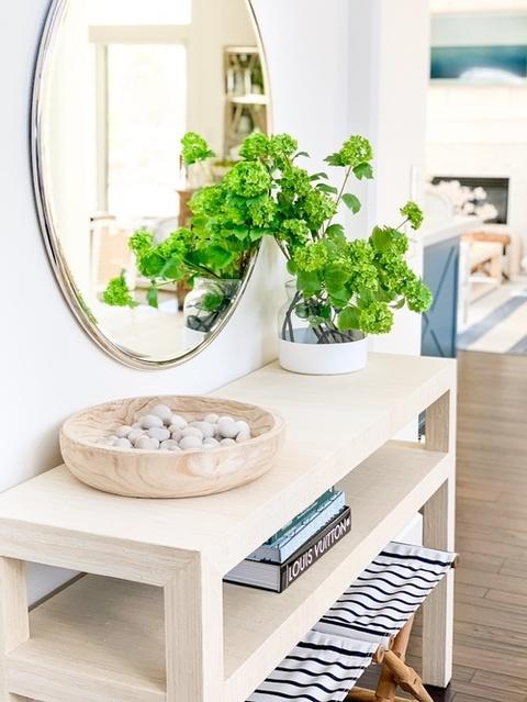 d glass vase, round mirror, decorating ideas, striped bench. #ShopStyle #MyShopStyle #LooksChallenge #Lifestyle #TrendToWatch