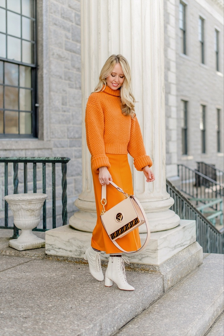 Get your vitamin C! Or at least look like it.  I love this orange monochrome look for a quick pick me up!  Try it to brighten up your day! #thefashionhousemom #ShopStyle #MyShopStyle #shopthelook #LooksChallenge #ContributingEditor #Lifestyle #TrendToWatch #Petite #orange #fendi #fendihandbag #andotherstories #springstyle #springlook #transitional #transition
