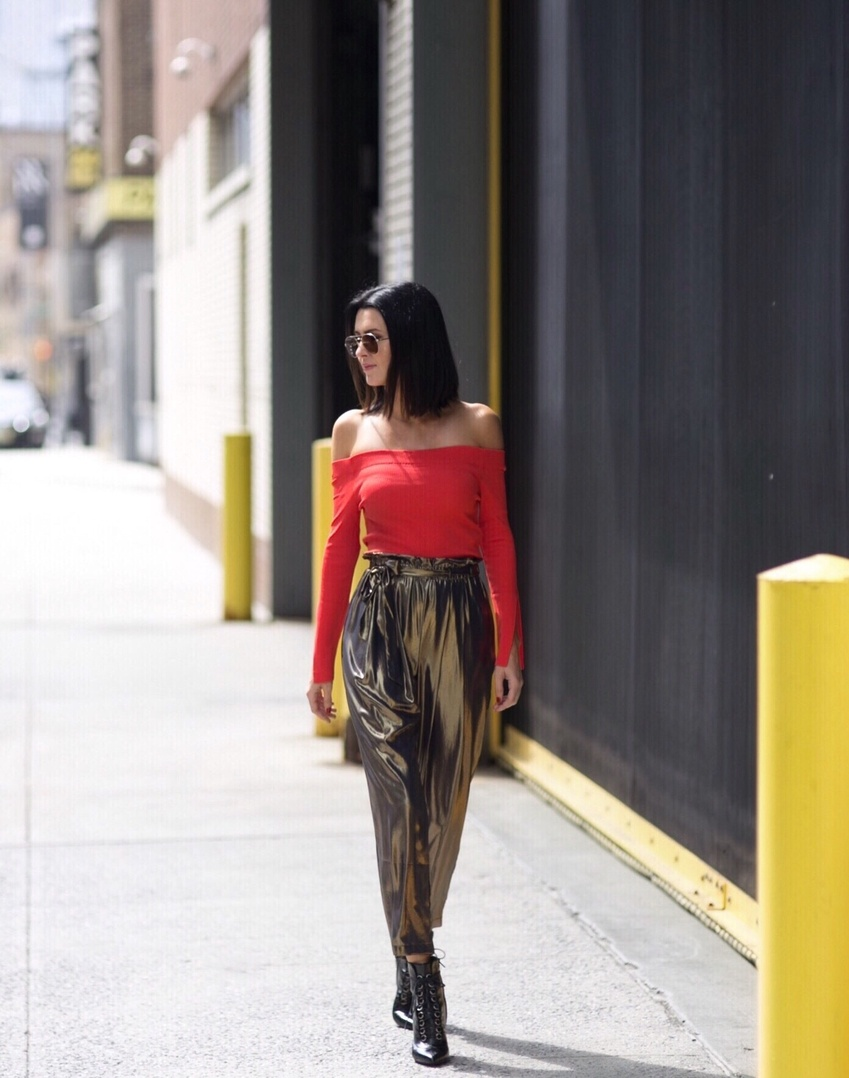 Metallic for daytime? Why not?! #nyfw #streetstyle #falltrends #fallfashion #fallstyle #metallic #red #ssCollective #ShopStyleCollective #MyShopStyle #ootd #mylook #currentlywearing #lookoftheday #summerstyle #wearitloveit #getthelook #todaysdetails