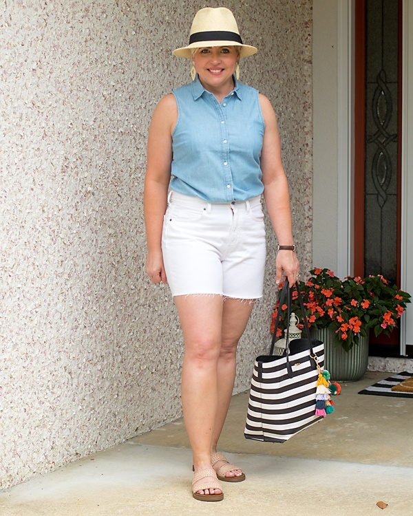 Look by Savvy Southern Chic featuring Petite Chambray button-up shirt in signature fit