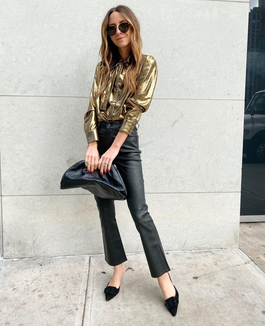 Look by somethingnavy featuring 7 For All Mankind Satin Neck Tie Top In Liquid Gold