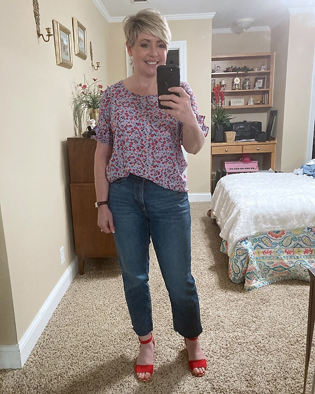 Look by Savvy Southern Chic featuring High Waist Crop Straight Leg Jeans