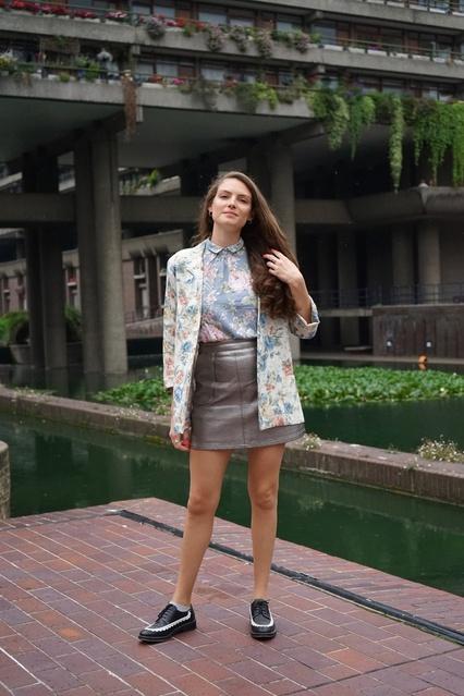 tch flowers + silver mini skirt + classic brogues. #ShopStyle #MyShopStyle #LibertyPrint #MiniSkirt #AutumnLook #BackToSchool