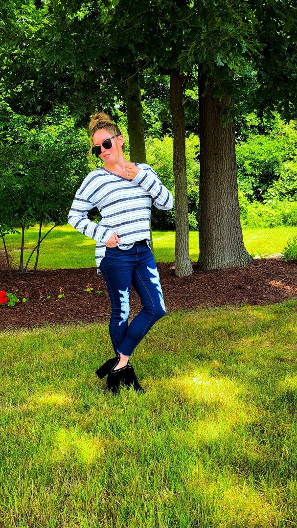 Look by Totally Tash featuring Madewell Ripped 10-Inch High Waist Crop Skinny Jeans