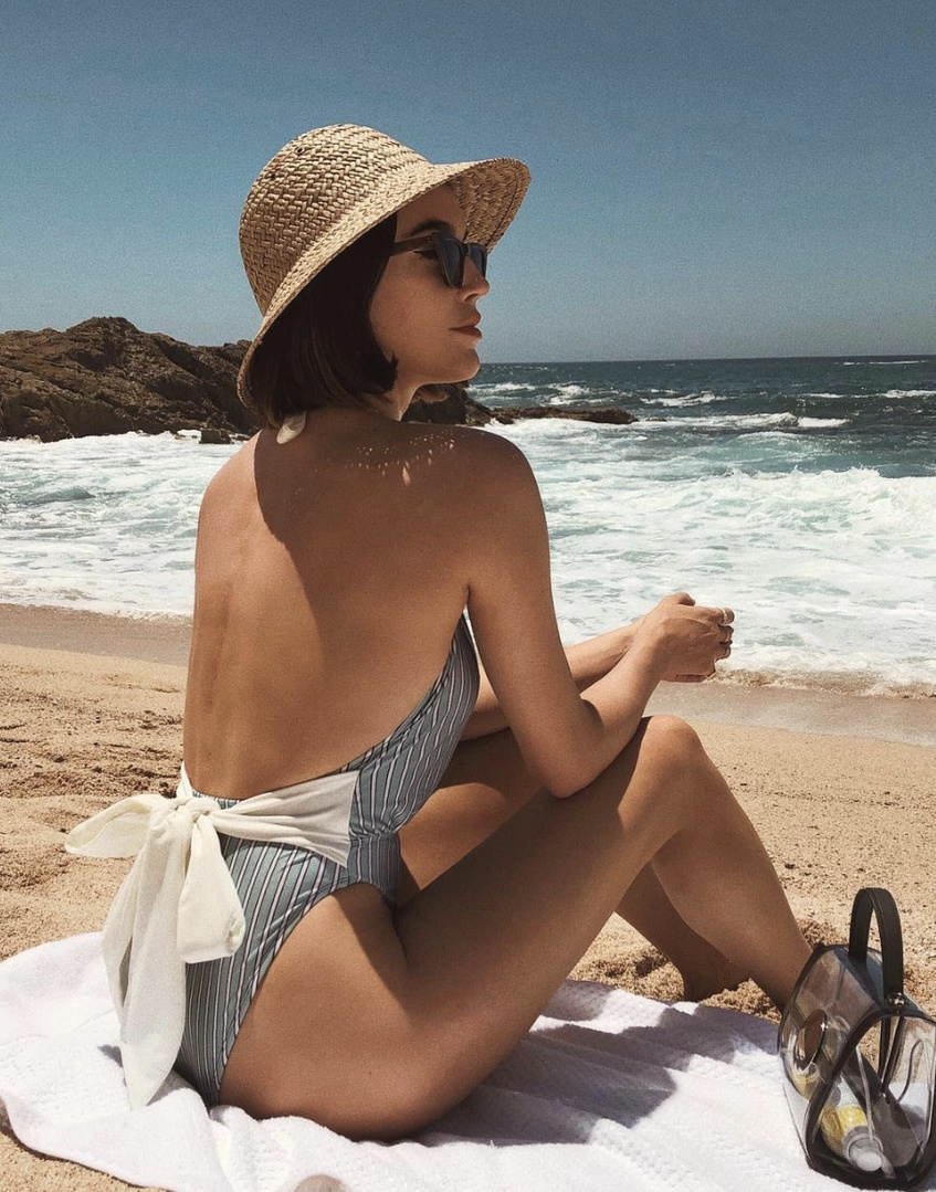 le #shopthelook #MyShopStyle #BeachVacation #OOTD #SpringStyle #cabo #mexico #swimsuit #onepiece #strawhat #brixton #clearbag
