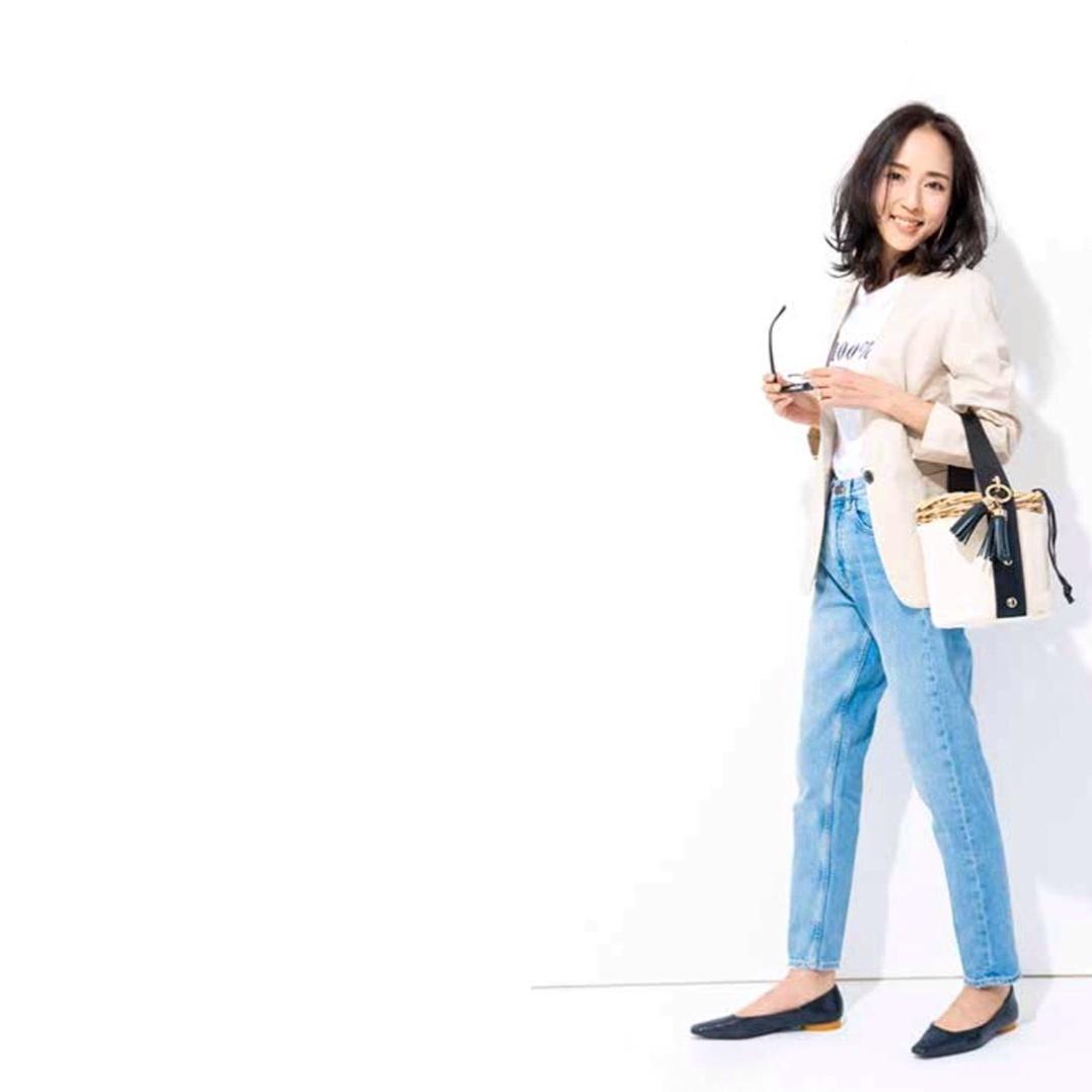 #outfit #denim #jeans #flat #リネン #リネンジャケット #デニムコーデ #デニムスタイル #かごバッグ #ジャケットコーデ #ジャケットスタイル