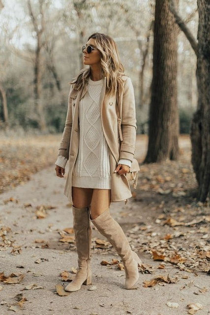 ashion #WomensStyle #Camisole #vneck #jeans #Holiday #TrendToWatch #Ootd #OverTheKneeBoots #Peacoat #SweaterDress #Sunglasses