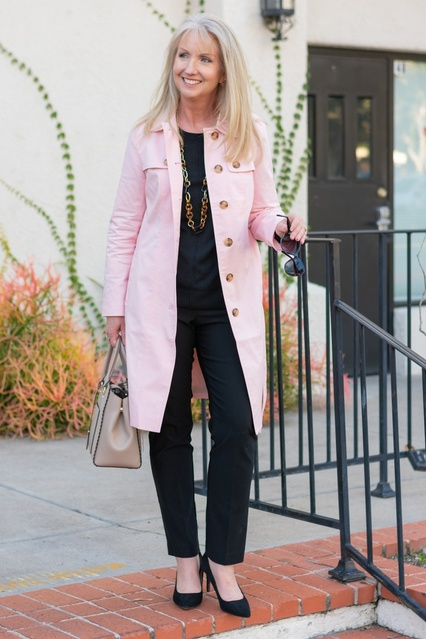 a trench coat in a spring hue and black basics. #dressedformyday #ShopStyle #MyShopStyle #LooksChallenge #ContributingEditor