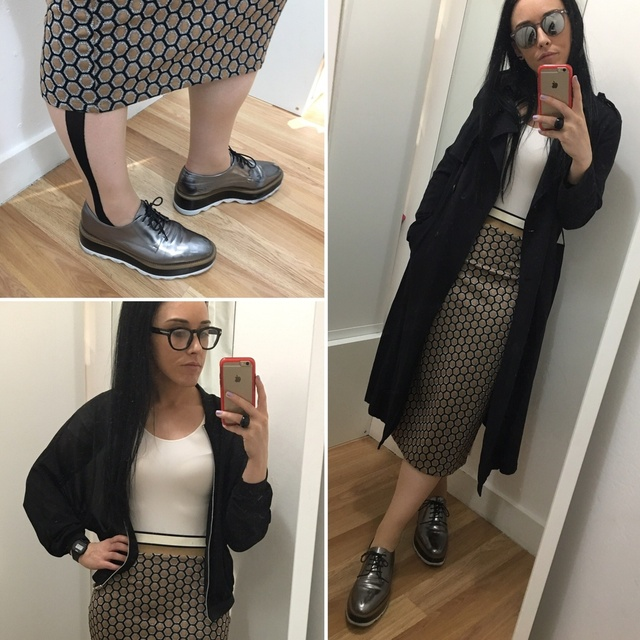 op, sheer bomber/light black trench and silver flatform brogues #ShopStyle #MyShopStyle #mystyle #mylook #workstyle #worklook
