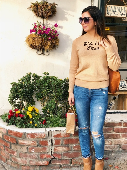 A classic camel sweater
