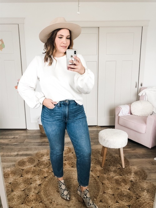 Look by Rebecca Wattenschaidt featuring Madewell Cali Demi-Boot Jeans in Fleetwood Wash