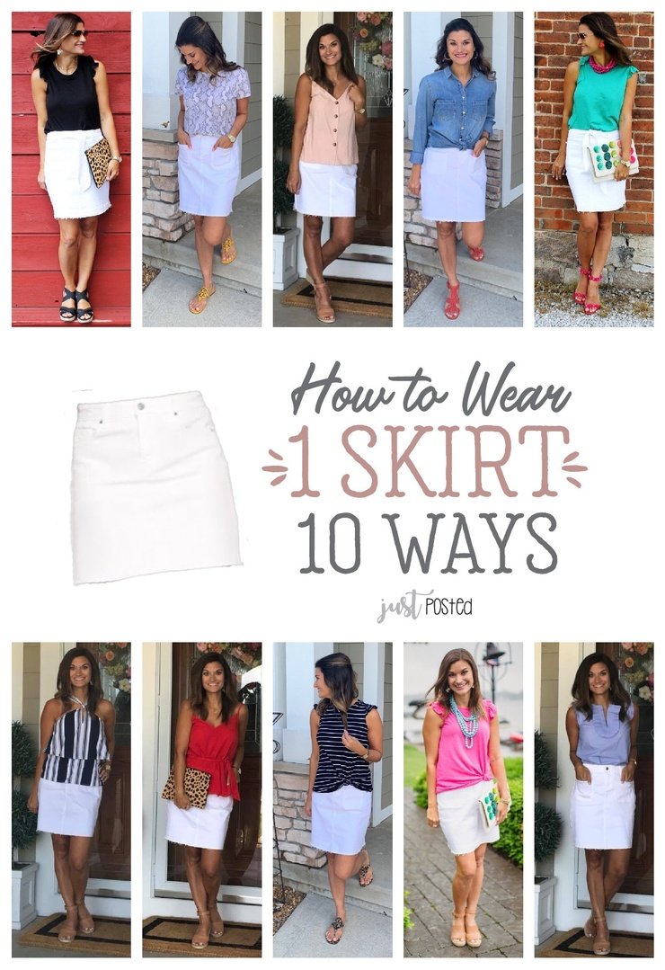 Look by Just Posted featuring High-Waisted White Frayed-Hem Jean Skirt For Women